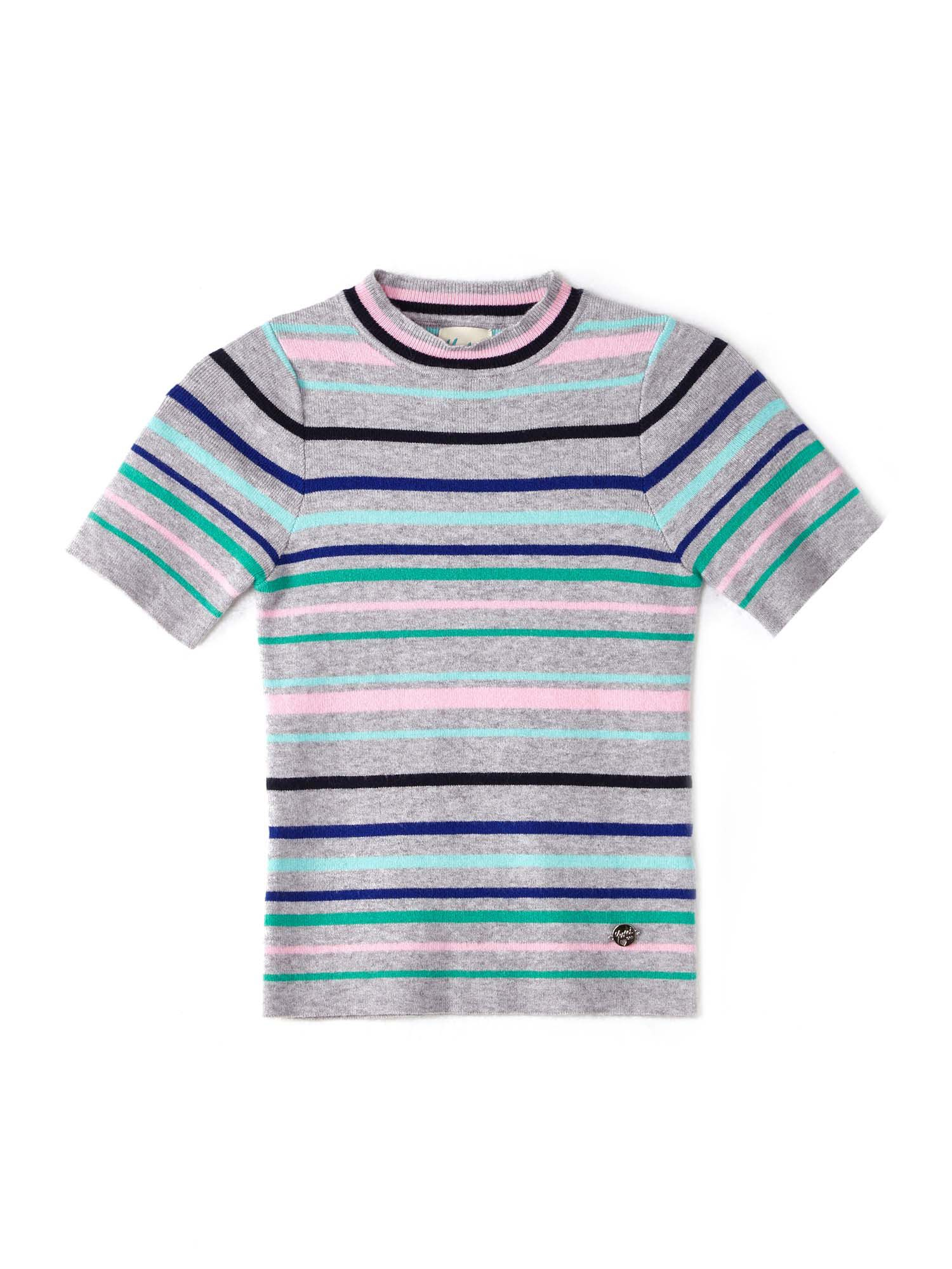 Click to view product details and reviews for Yumi Girls Multi Coloured Striped Short Sleeve Jumper Grey.