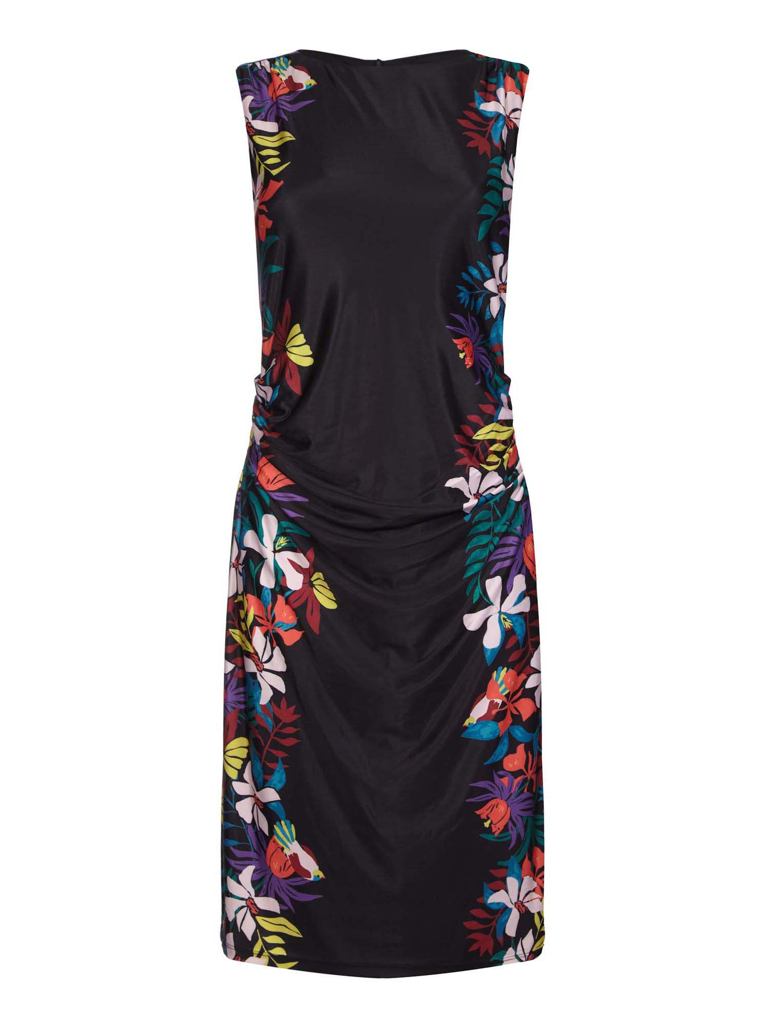 Yumi Curves Contrast Floral Pattern Dress, Black