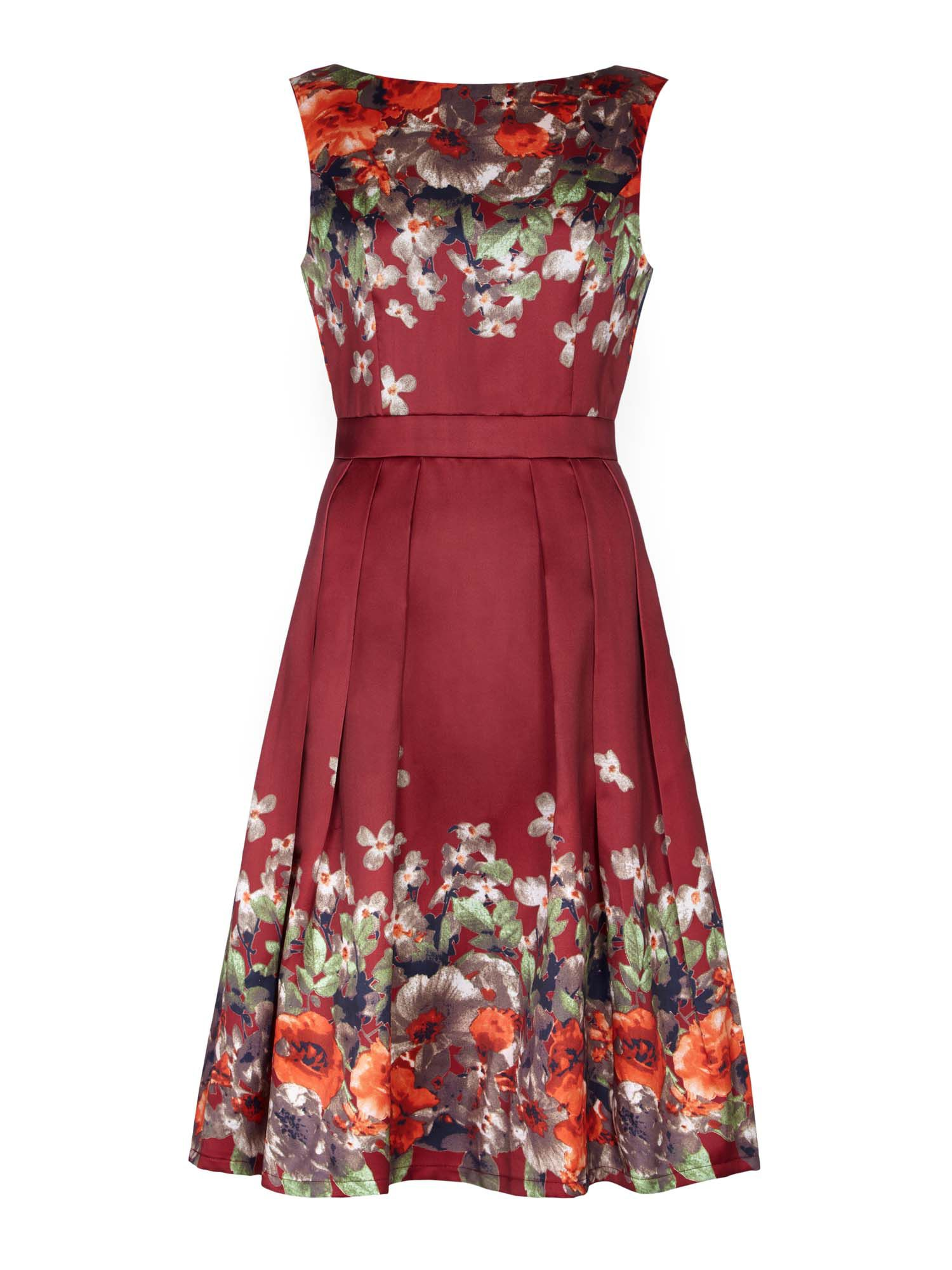 Click to view product details and reviews for Mela London Floral Boarder Prom Dress Red.