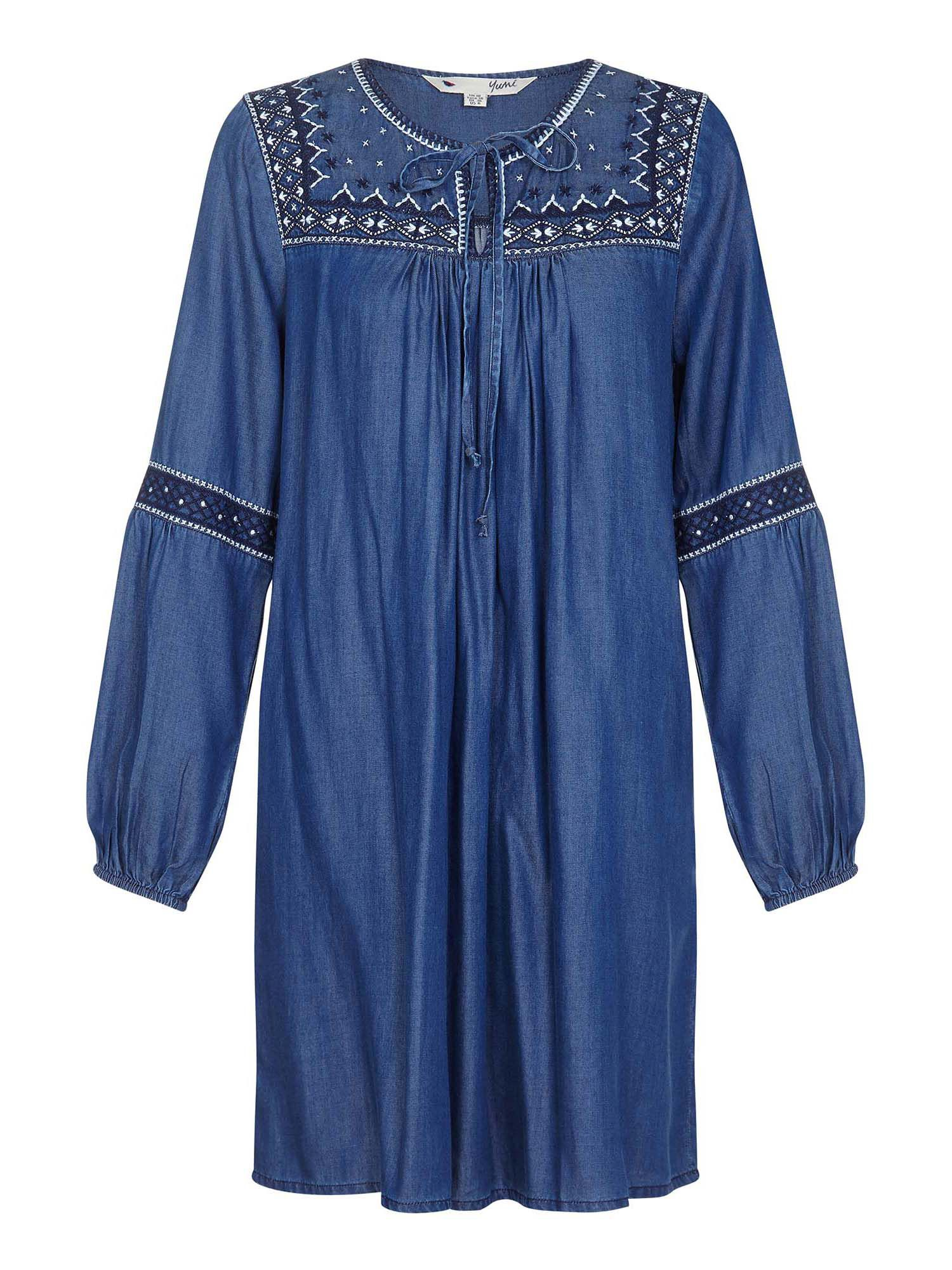 Yumi Curves Embroidered Chambray Tunic Dress, Blue
