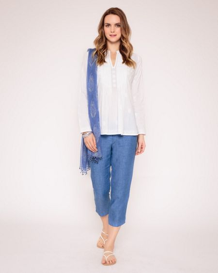 East Embroidered pintuck blouse