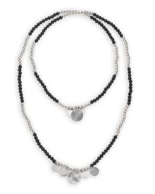 Black Bead and Disc Necklace