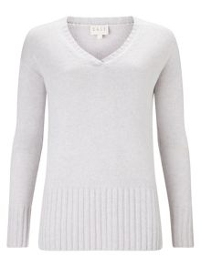 East V Neck Rib Detail Jumper