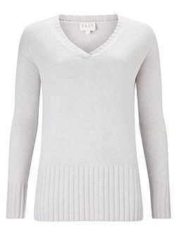 V Neck Rib Detail Jumper