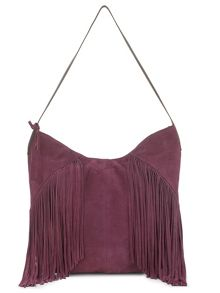East Leather Fringed Hobo