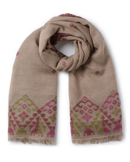 East Woven Jacquard Border Scarf