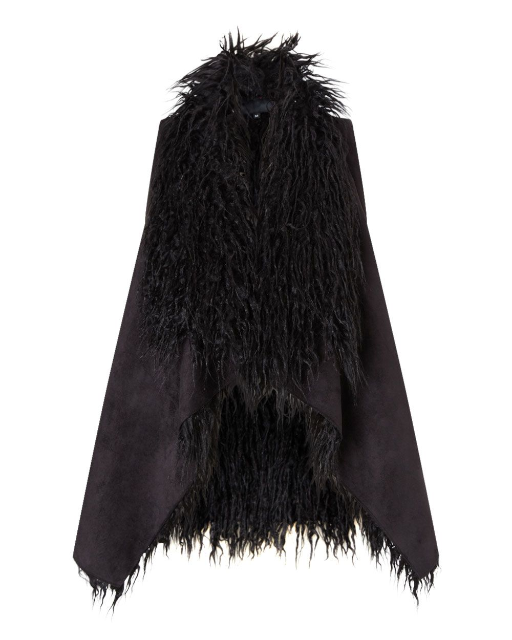 East Faux Fur Waterfall Gilet Black