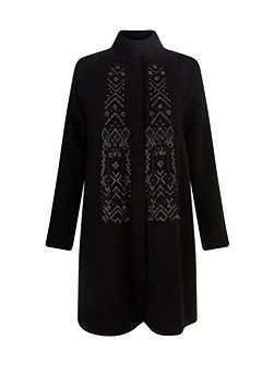 Embroidered Felted Wool Coat