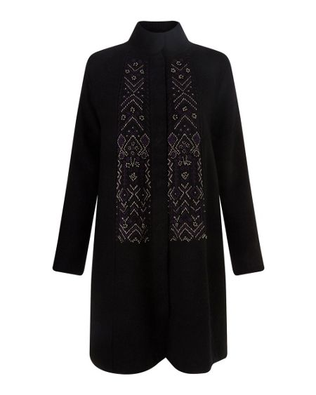East Embroidered Felted Wool Coat