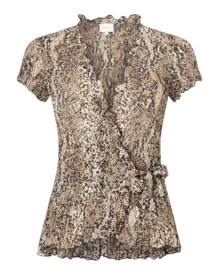 East Snake Print Pleat Top