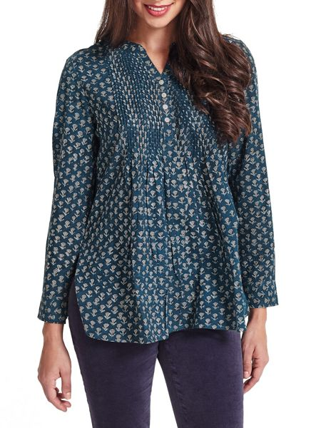 East Anisha Print Pintuck Top