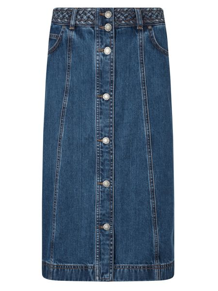 East Button Denim Skirt