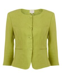 East Linen Collarless Jacket