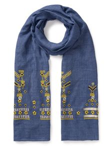 East Chambray Embroidered Scarf