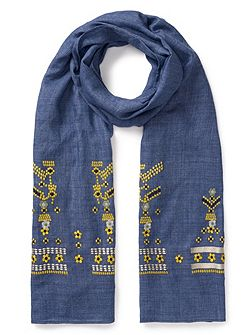 Chambray Embroidered Scarf
