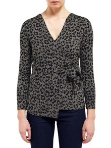 East Leopard Print Wrap Top