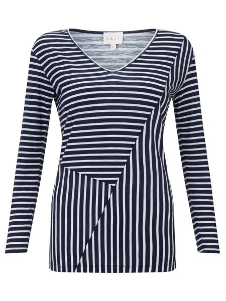 East Reverse Print Stripe Top