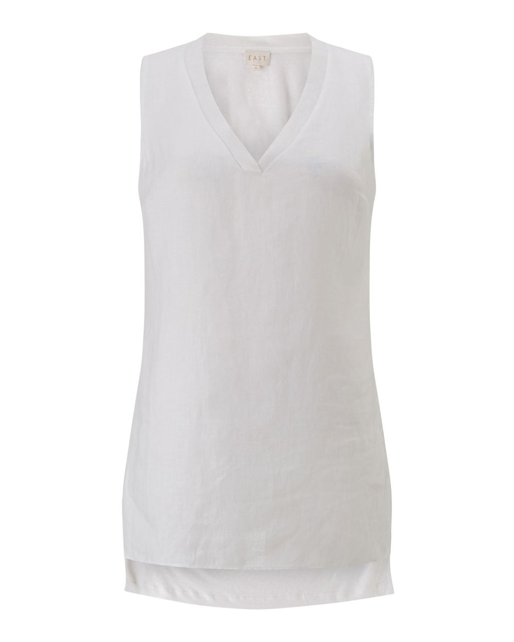 East V Neck Sleeveless Jersey, White