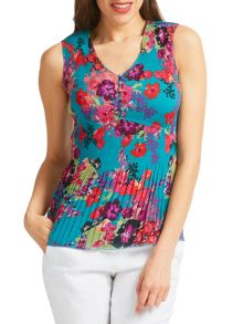 East Hope Print Pleat Top