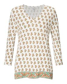 East Jasmine Print V Neck Top