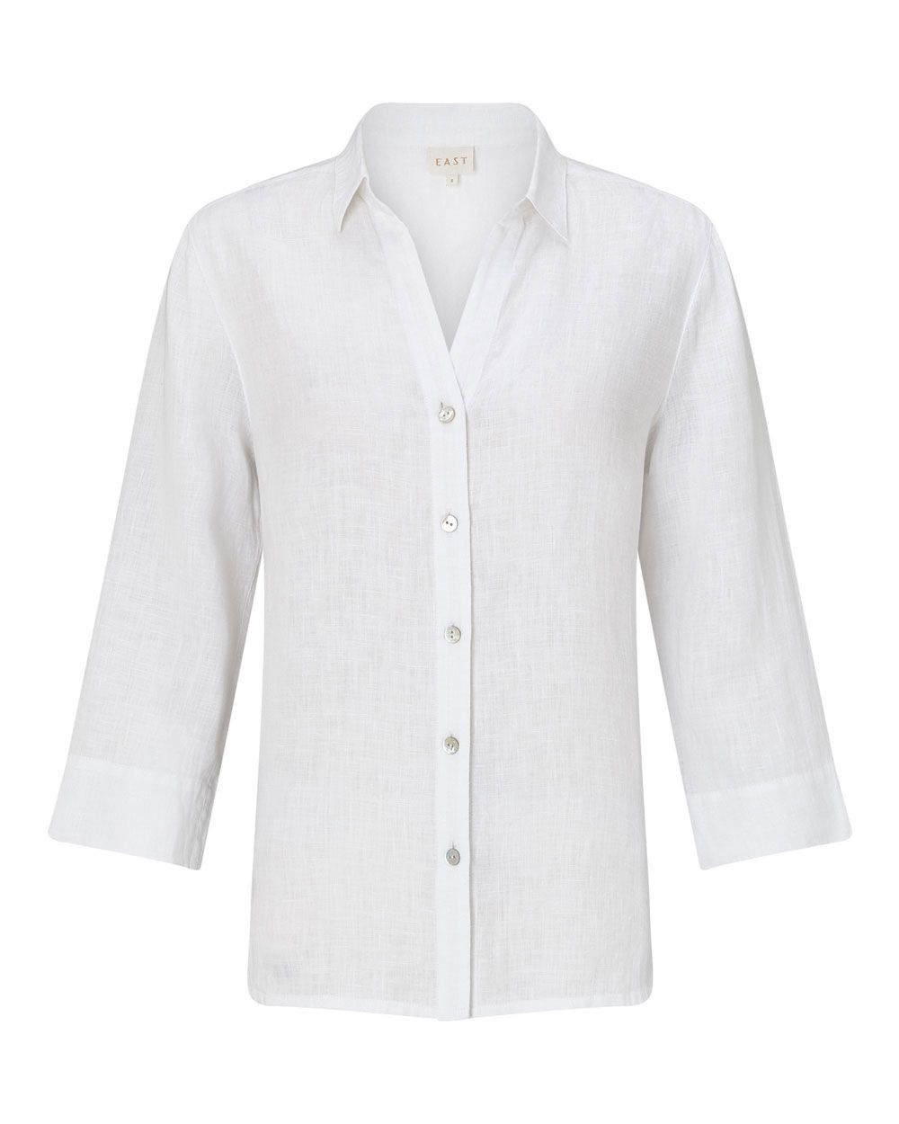 East Linen Fitted Shirt, White
