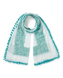 East Embroidered Pompom Scarf