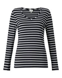East V Neck Jersey Stripe Top