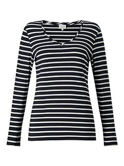 V Neck Jersey Stripe Top