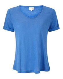 East Linen V Neck Top