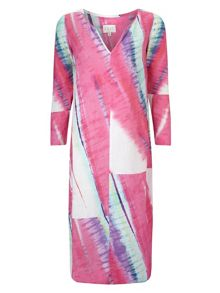 East Linen Abstract Maxi Kaftan