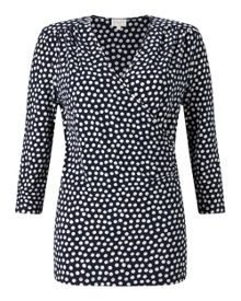 East Spotted Ruche Jersey Top