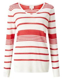 East Stripe V Neck Linen Jumper