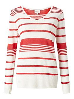 Stripe V Neck Linen Jumper