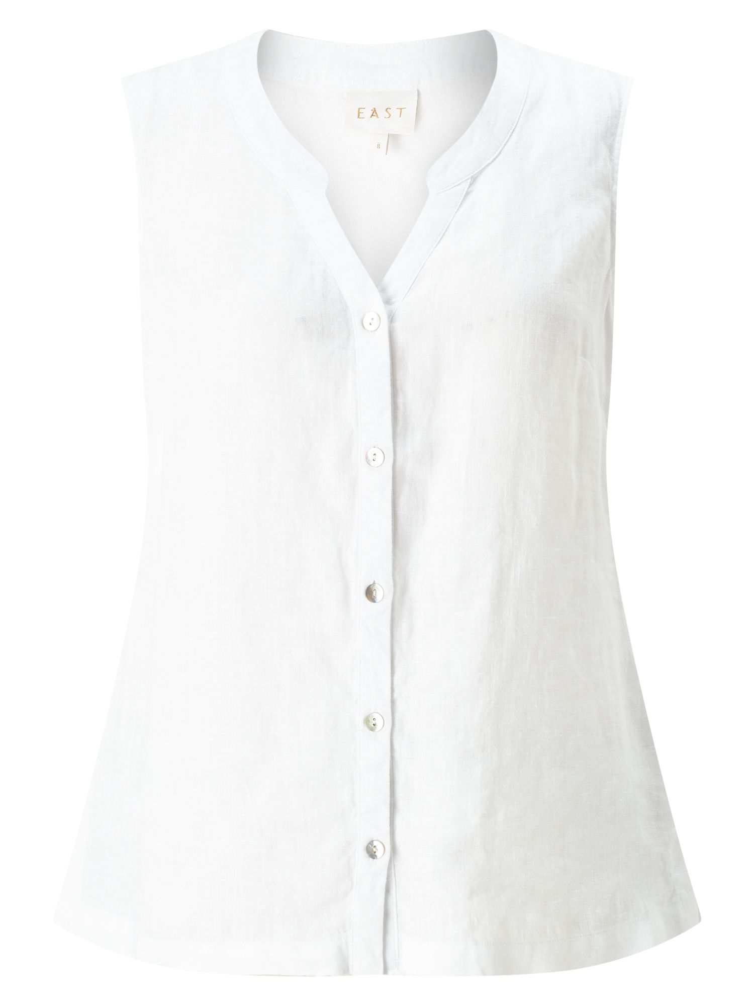 East Linen Sleeveless Shirt, White