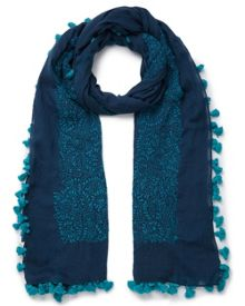 East Hand Embroidered Pompom Scarf