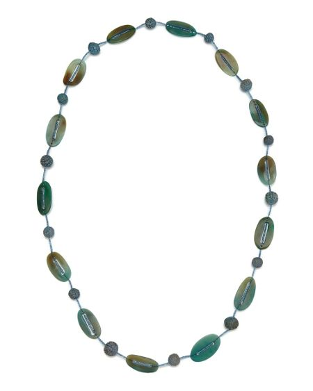 East Long Glass Bead Necklace