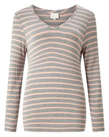 East V Neck Bretton Stripe Top