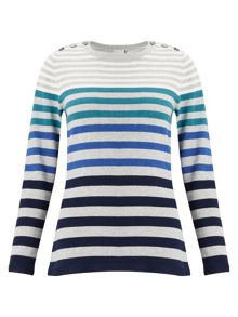 East Stripe Button Detail Jumper