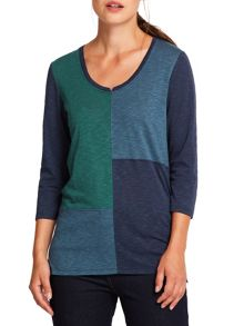 East Asymmetric Colourblock Top