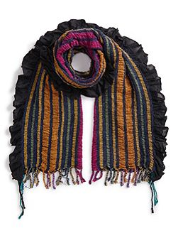 Stripe Woven Ruched Scarf