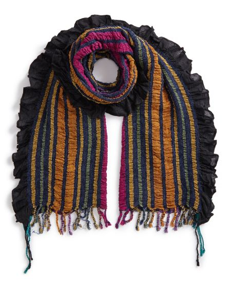 East Stripe Woven Ruched Scarf