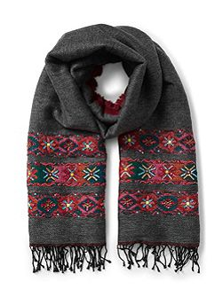 Double Face Wool Emb Scarf