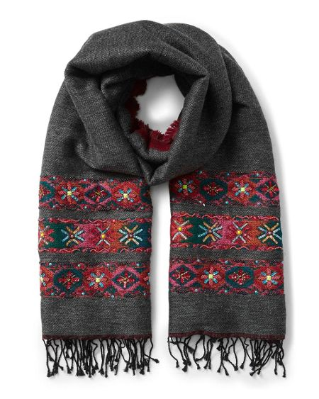 East Double Face Wool Emb Scarf