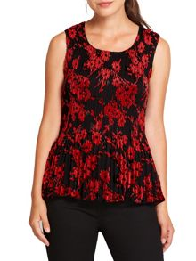 East Poppy Devore Pleat Top