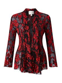 East Poppy Devore Pleat Jacket