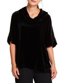 East Silk Velvet Bardot Top