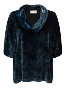 East Silk Velvet Peacock Top