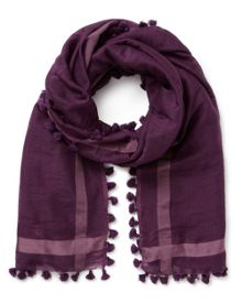 East Wool Silk Pom Pom Scarf