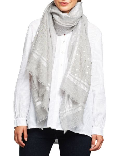 East Wool Sequin Border Scarf