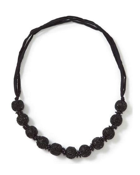 East Jet Bead Bauble Necklace